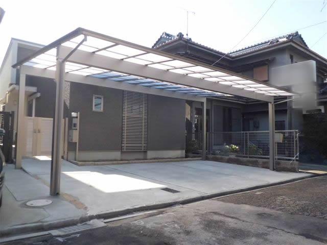 カーポート新設工事 アーキデュオ ワイド 3台用 名古屋市