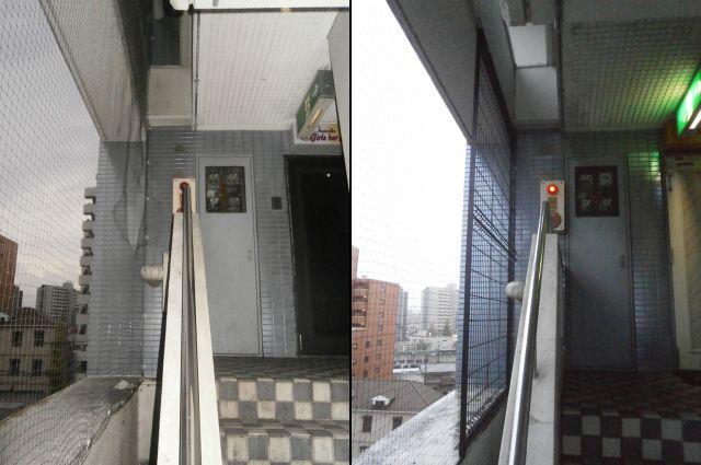 スチールメッシュフェンス取付工事 ビルの共用部 名古屋市