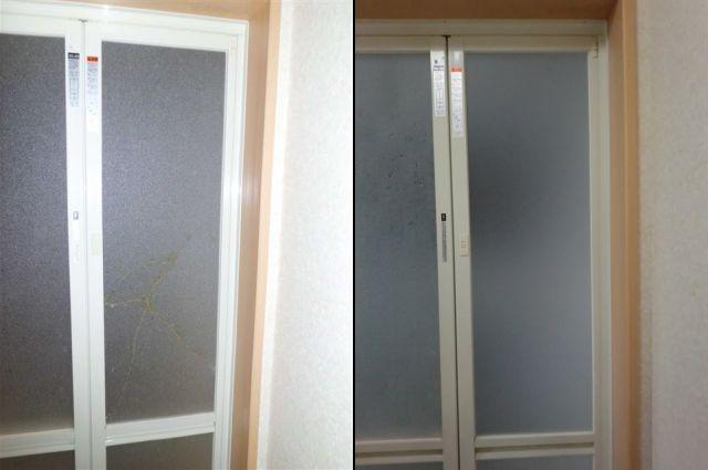 浴室中折れドア 樹脂パネル修理、交換 名古屋市
