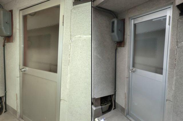一戸建て住宅の勝手口ドア取替工事 アルミ框ドア 名古屋市