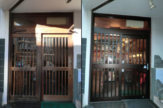 店舗自動ドア改修 カバー工法によるアルミフロント工事 名古屋市