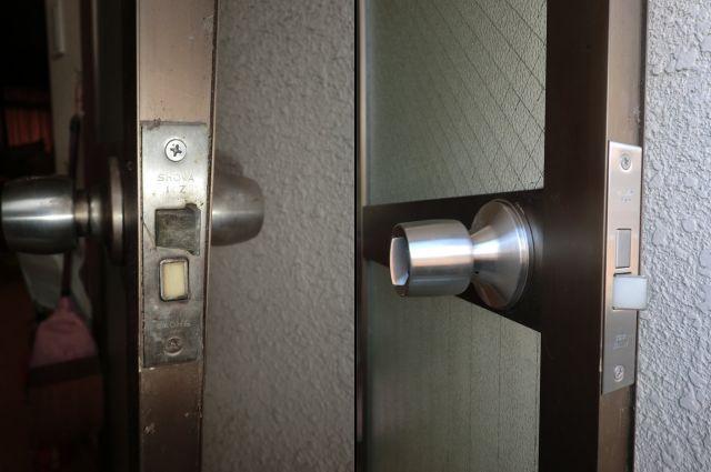 勝手口ドアの防犯対策 錠前取替工事 あま市