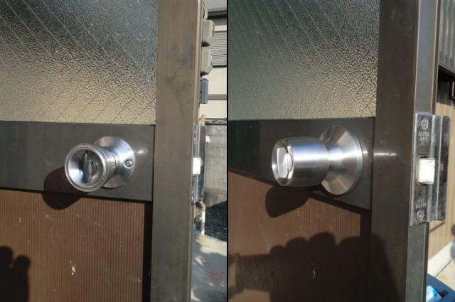 勝手口ドアの錠前取替工事 防犯対策 名古屋市