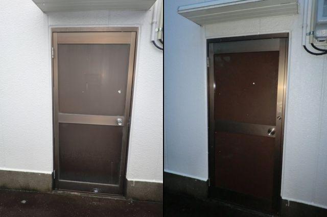 事務所のドア取替工事 防犯対策 春日井市