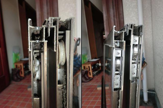 サッシ修理 引違い窓の戸車交換 名古屋市