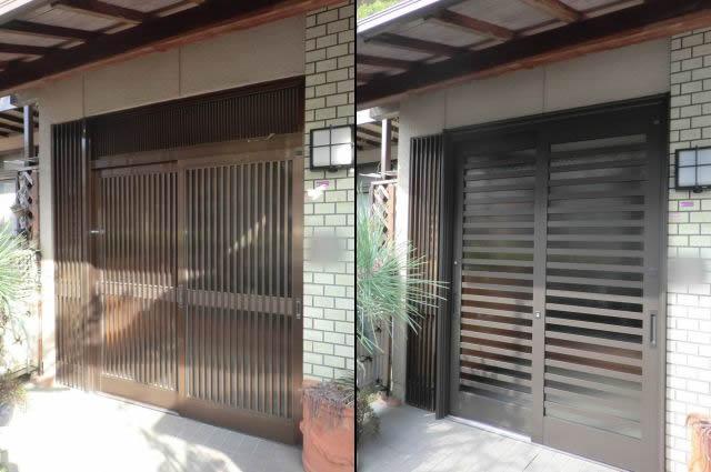 玄関引戸のリフォーム工事 トステム製リシェント 岩倉市