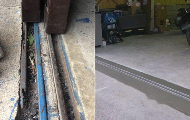 倉庫ハンガー扉のレール補修工事 吊り車交換工事 名古屋市