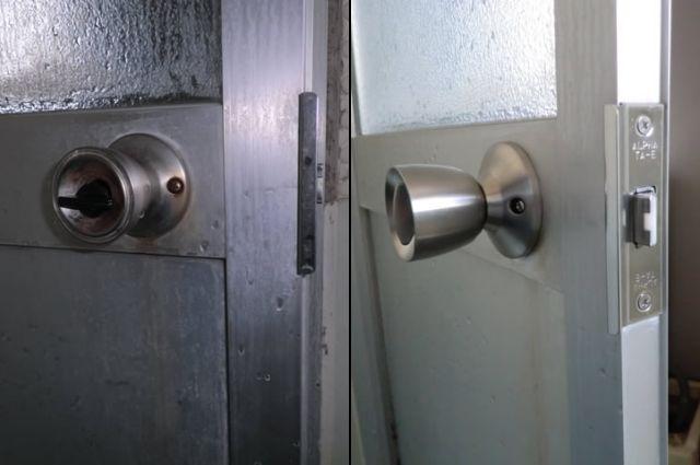 浴室ドアノブ、バックセット取替工事 名古屋市