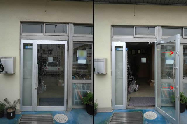 店舗サッシ改装工事 店舗アルミ框ドア 名古屋市