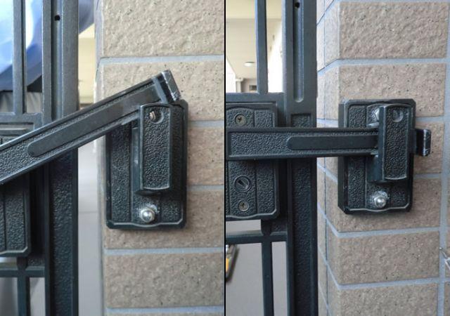 マンションのアルコープ門扉修理、調整 大府市