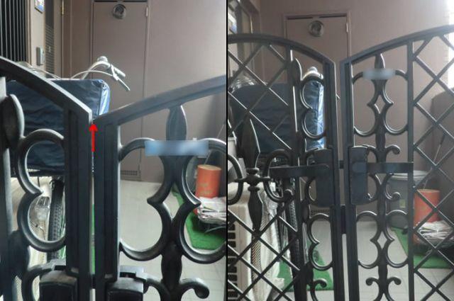 アルコープ門扉の修理、調整 名古屋市