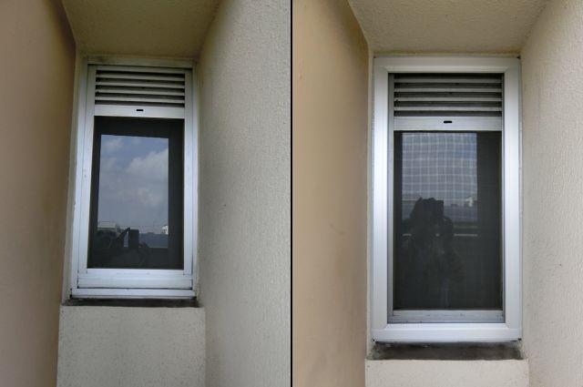 内倒し窓に固定網戸 名古屋市