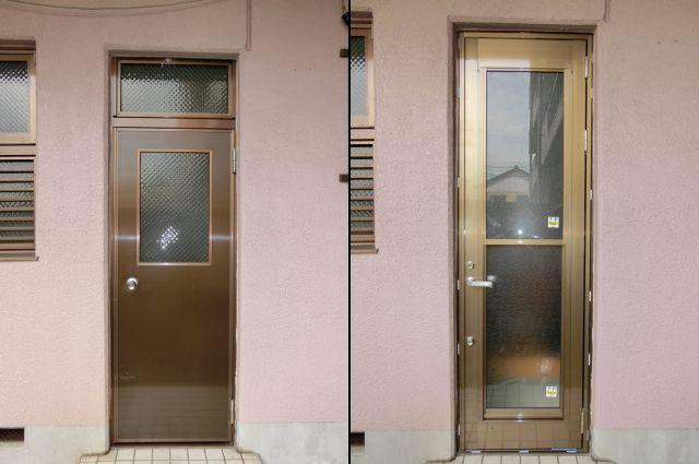 勝手口ドアのリフォーム工事 LIXIL リシェント勝手口ドア あま市