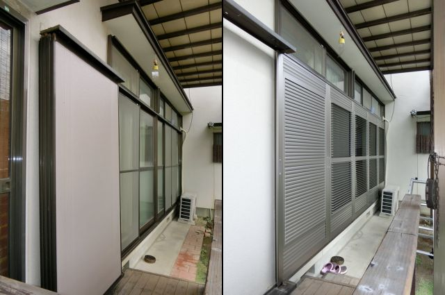 雨戸から可動ルーバー雨戸への取替工事<1> 風通しのできる雨戸 名古屋市