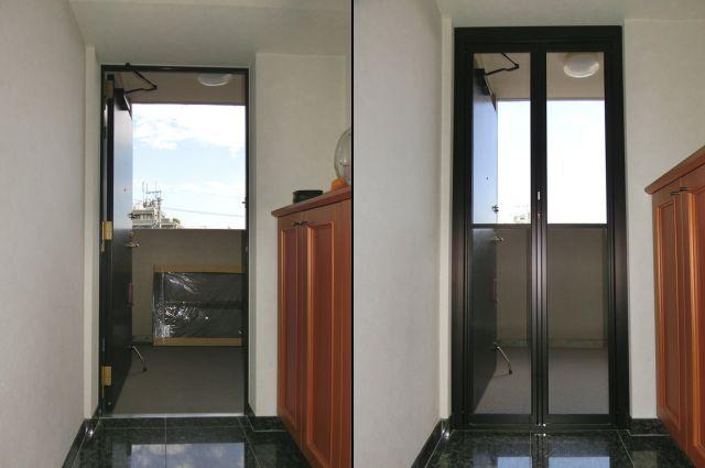 玄関ドアにYKK中折網戸取付工事 名古屋市