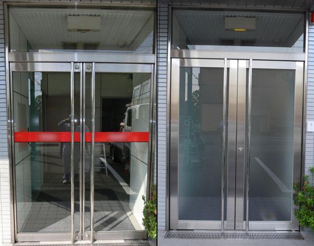 テンパドアからステンレス框ドアへの取替工事 事務所入口 名古屋市