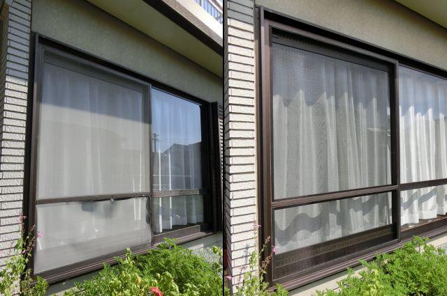網戸張替え工事 掃出し窓用網戸 名古屋市