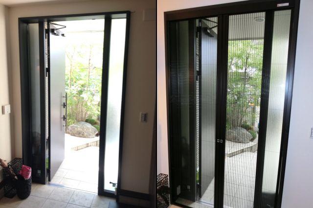 玄関ドアに網戸取付工事 リクシルしまえるんですα 名古屋市緑区