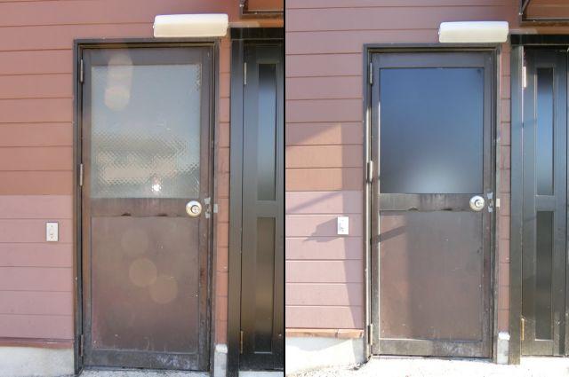店舗ドアの防犯対策 アルミ框ドア ガラスからパネル取替工事 名古屋市中川区