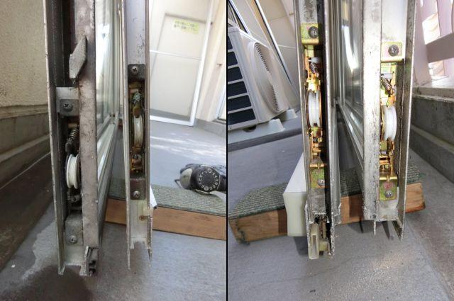 サッシの戸車交換、修理 三協アルミビル用サッシ 名古屋市中区