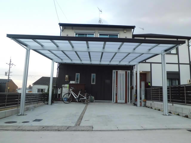 カーポート工事2台用 LIXILアーキデュオ プレミアムワイド 名古屋市天白区