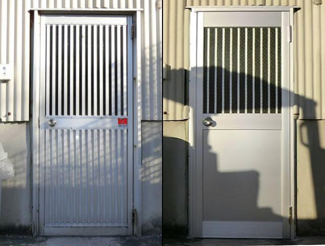 倉庫入口ドア取替工事 アルミ框ドア 名古屋市緑区