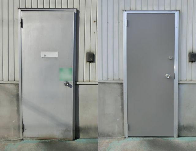 工場のアルミ片開き框ドア取替工事 名古屋市緑区