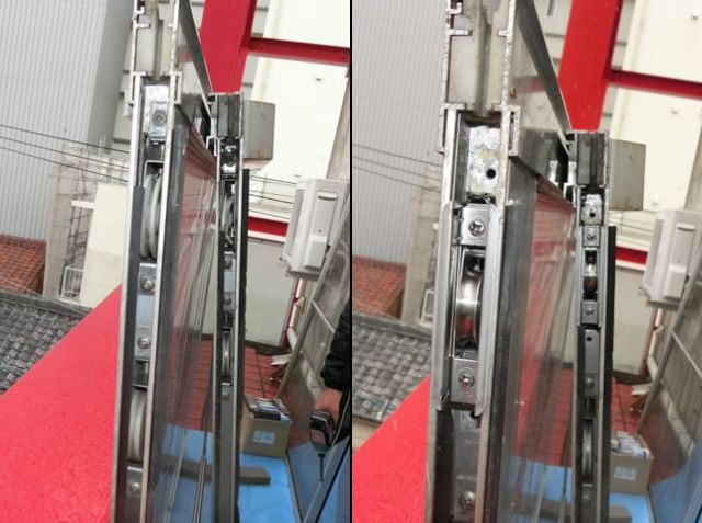 サッシ戸車修理、交換 掃出し窓の開閉不具合 名古屋市中区