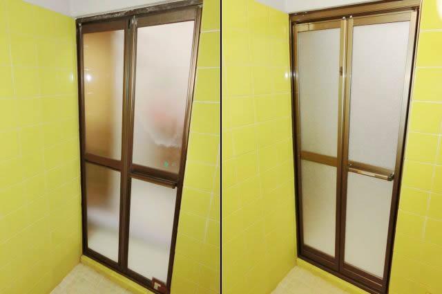 浴室中折れドアのリフォーム 名古屋市瑞穂区