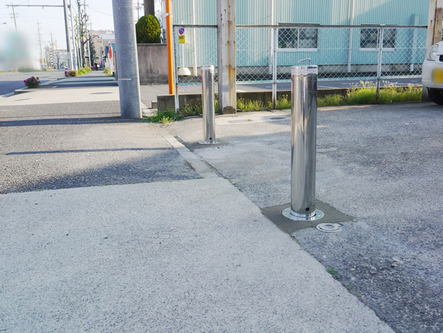 駐車場の車止めポール工事 防犯対策 名古屋市中川区