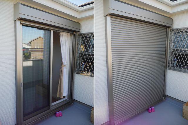窓の防犯対策 手動シャッター取付工事 名古屋市緑区
