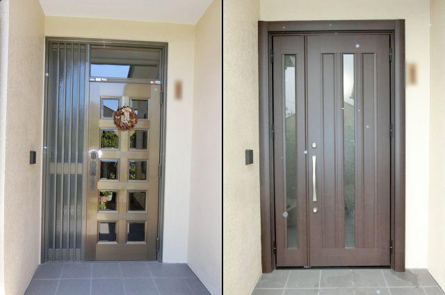 玄関ドアのリフォーム工事 LIXILリシェント 清須市