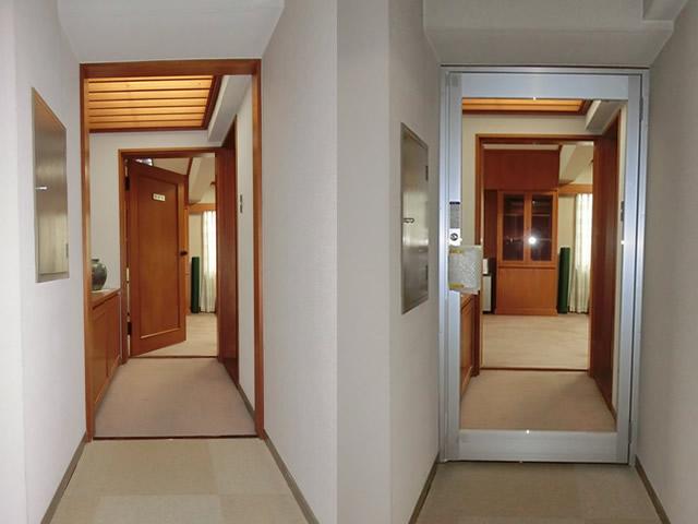 店舗入口ドア新設工事 片開きアルミ框ドア 名古屋市中村区