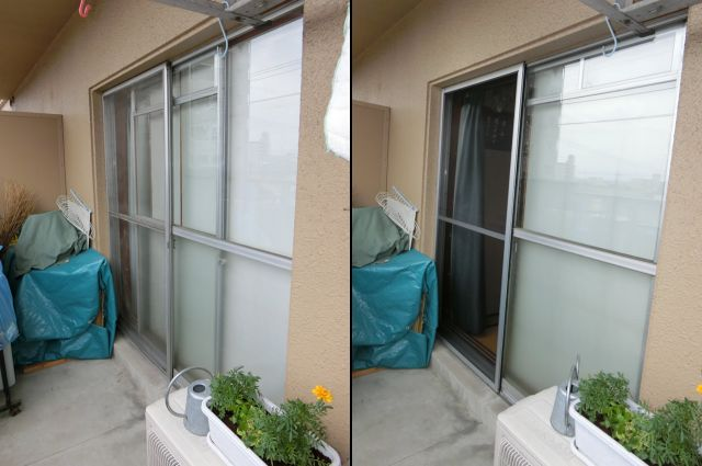 ベランダ掃出し窓用の網戸 名古屋市南区