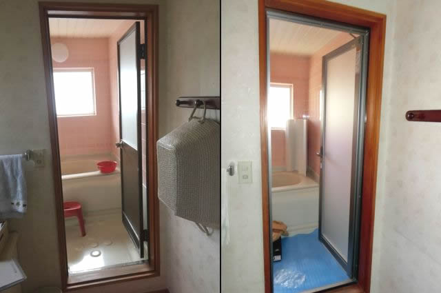 浴室ドア取替工事 浴室カバー工法 名古屋市天白区