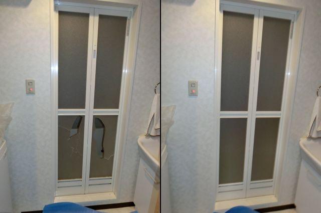 浴室中折れドアの樹脂パネル取替工事 名古屋市東区