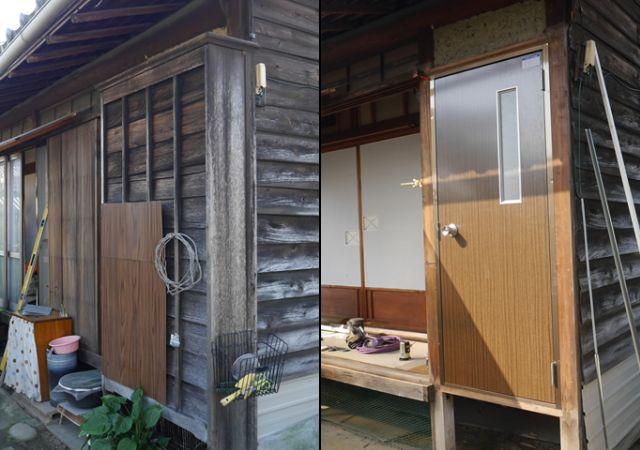 雨戸戸袋から勝手口ドアへのリフォーム工事 北名古屋市