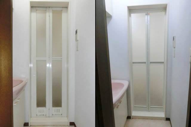 浴室中折れドア取替え工事 名古屋市昭和区