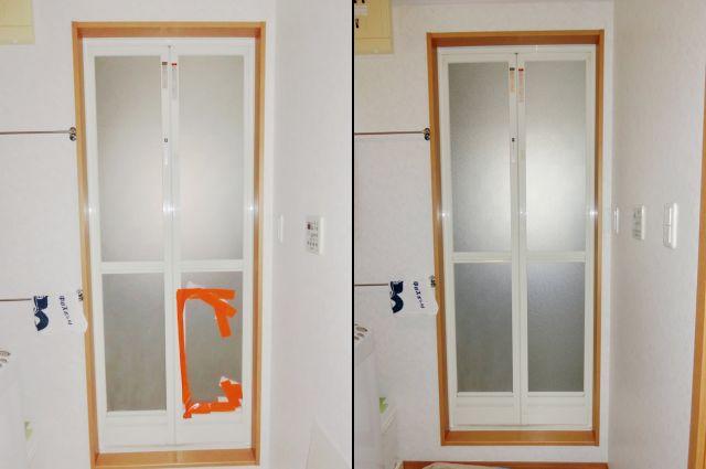 浴室中折れドアの樹脂パネル交換 名古屋市緑区
