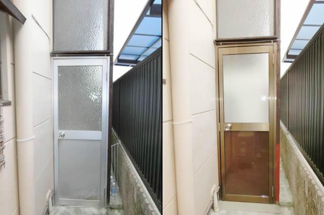 通用口ドア取替工事 リクシル ロンカラーガラスドア 名古屋市千種区