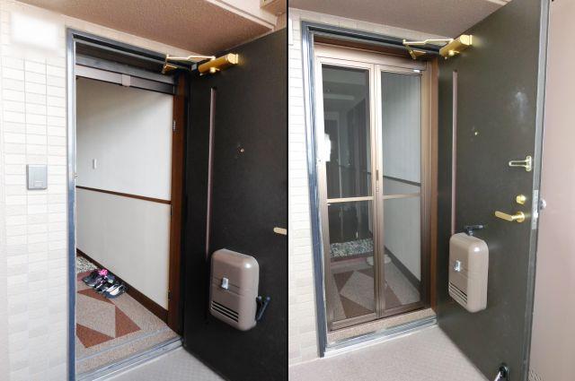 マンション玄関ドアに中折れ網戸取付 名古屋市天白区