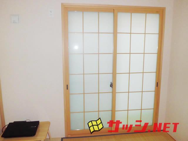 窓の結露対策 内窓インプラス 和紙調格子入り複層ガラス名古屋市西区