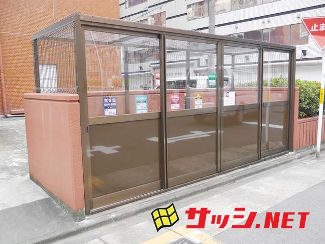 マンションゴミ置場改修工事 メッシュ引戸タイプ 名古屋市中区